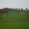 Erin Hills Golf Course's second hole has a tee shot down to a rolling fairway.