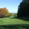 A fall view of a tee at NAGA-Waukee Golf Course